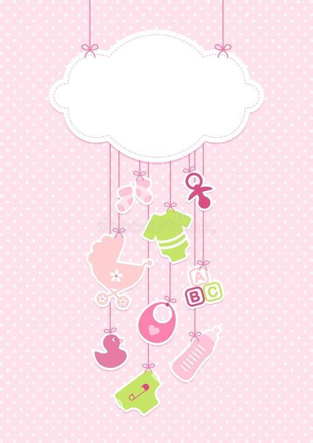 Vertikale Karten-Baby-Ikonen Mädchen und Wolken-Hintergrund Dots Pink vektor abbildung