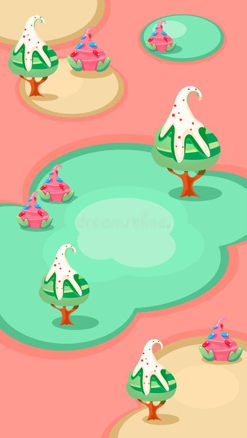 Vertikale Landschaftsillustration, Süßigkeits-Inseln vektor abbildung