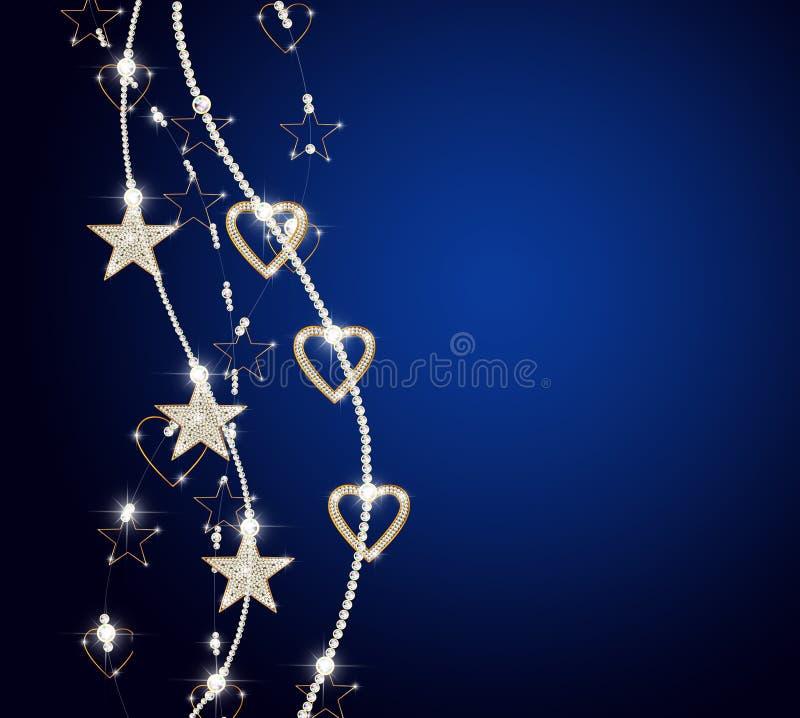 Vertikale leuchtende Ketten mit goldene Sterne vektor abbildung