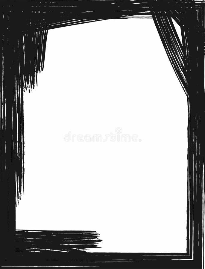 Vertikale rechteckige Schmutzschablone Schwarzweiss-Aquarellhintergrund Farbe, Skizze, Bürste lizenzfreie abbildung