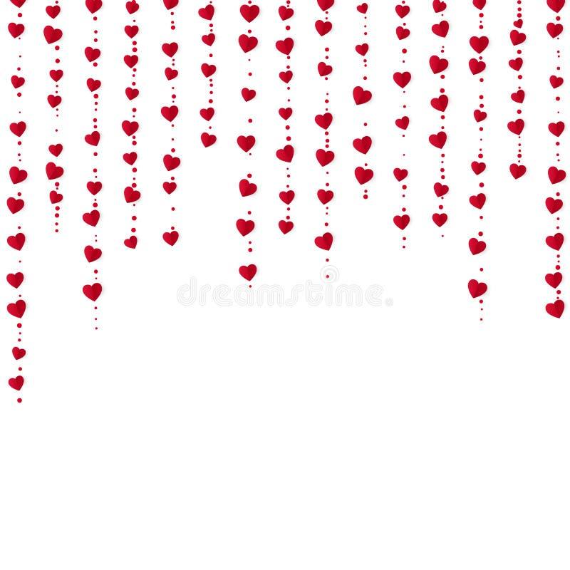 Vertikale rote Herzgirlanden Valentinsgruß-Tagesromantischer Hintergrund Packpapierhintergrund Auch im corel abgehobenen Betrag lizenzfreie abbildung