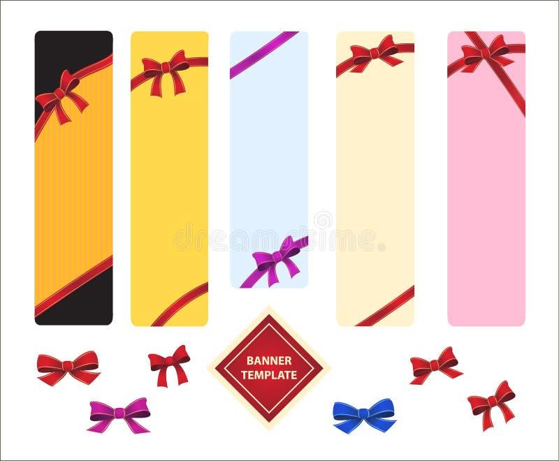 Vertikale Schablone farbige Fahnen mit roten Bögen stock abbildung