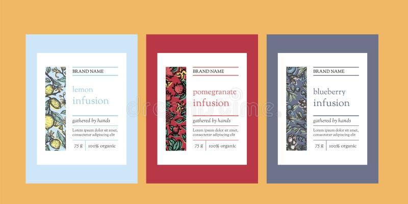 Vertikale Schablonen der Blumenverpackung mit Zitrone, Granatapfel und Blaubeere vektor abbildung