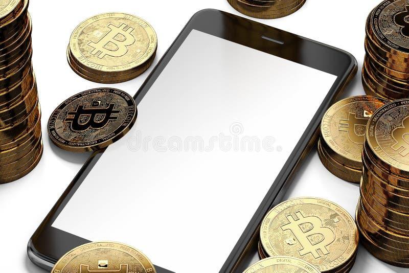 Vertikale Smartphoneanzeige mit dem Raum für gelegentliches Design umgeben durch Bitcoin-Stapel stock abbildung