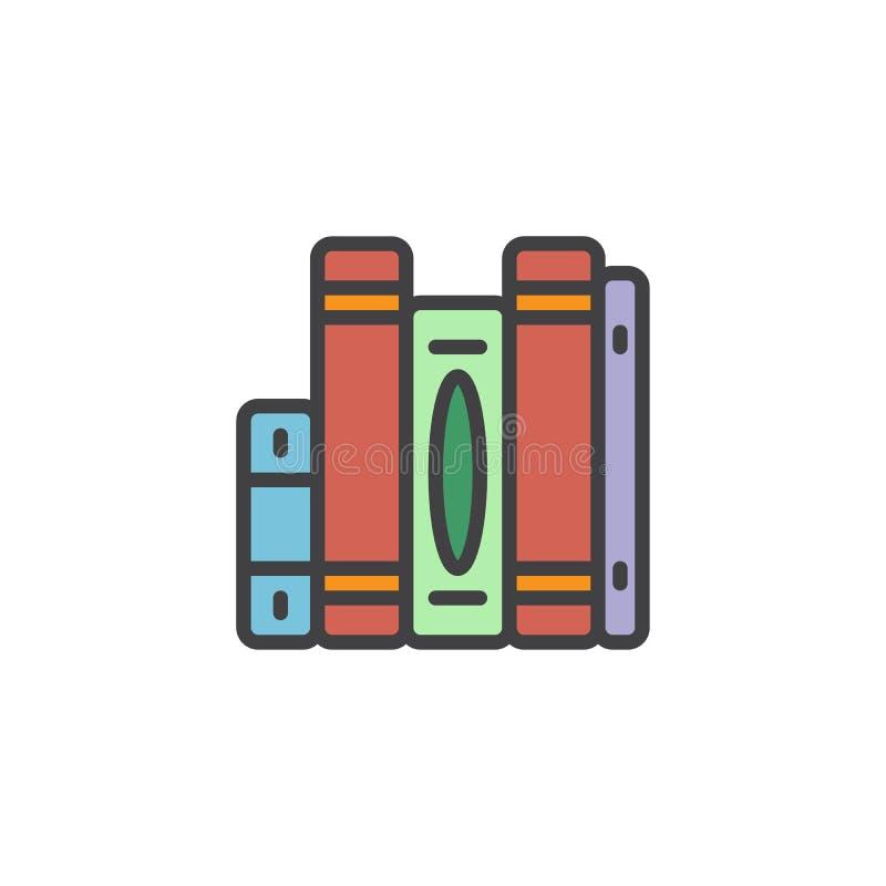 Vertikale stapelte Bücher gefüllte Entwurfsikone lizenzfreie abbildung