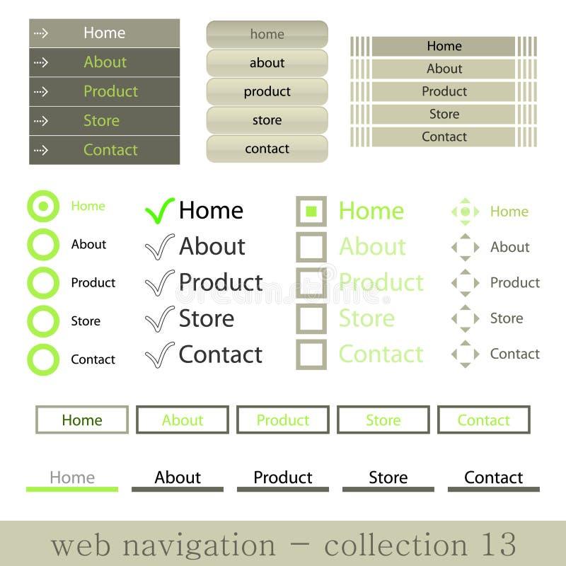Vertikale und horisontal Web-Navigationen vektor abbildung