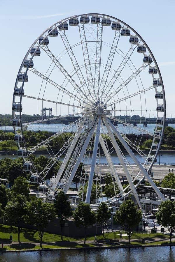Vertikale Vogelperspektive des großen Rades, altes Montreal stockfoto