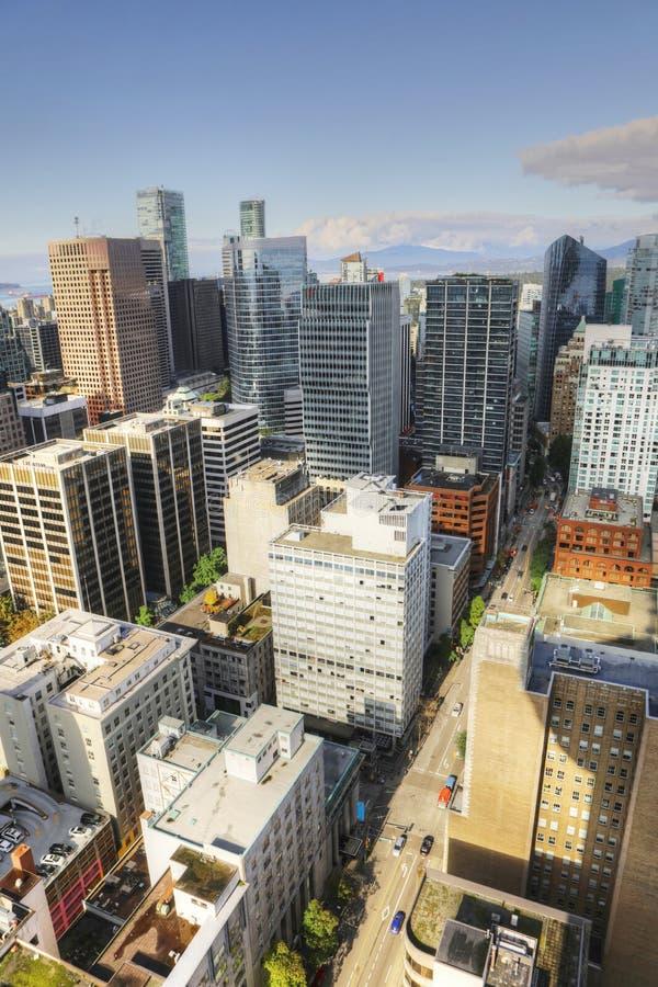 Vertikale Vogelperspektive des Vancouvers, Kanada Stadtzentrum stockfoto