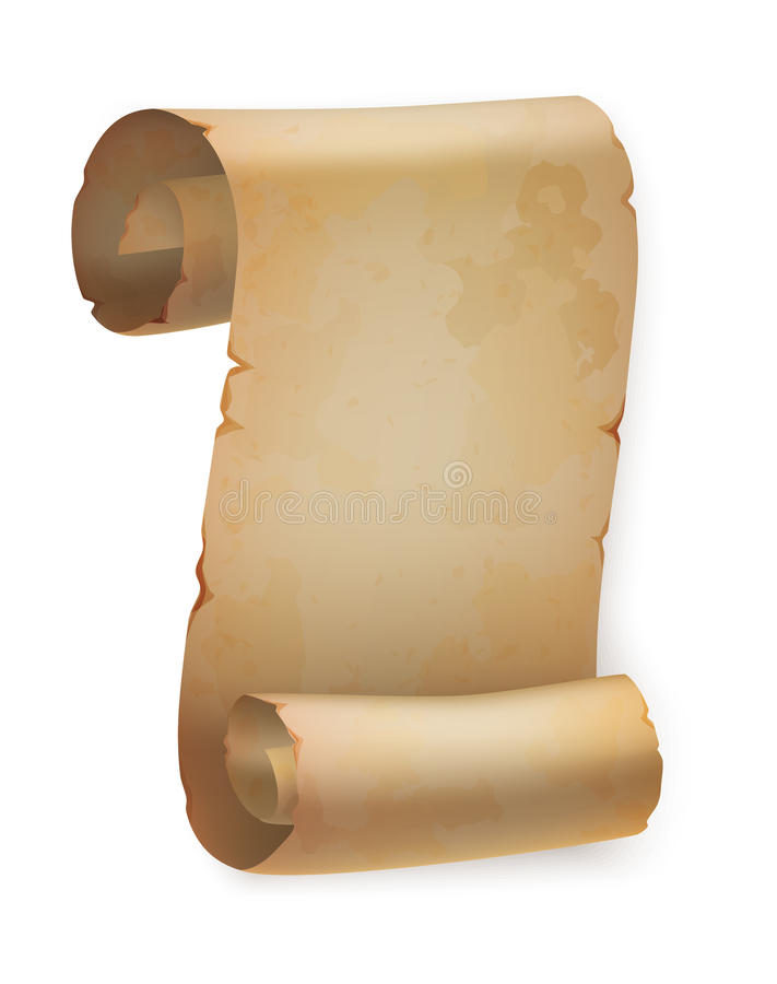Vertikale Weinlesepapierrolle oder Pergamentrolle lizenzfreie abbildung