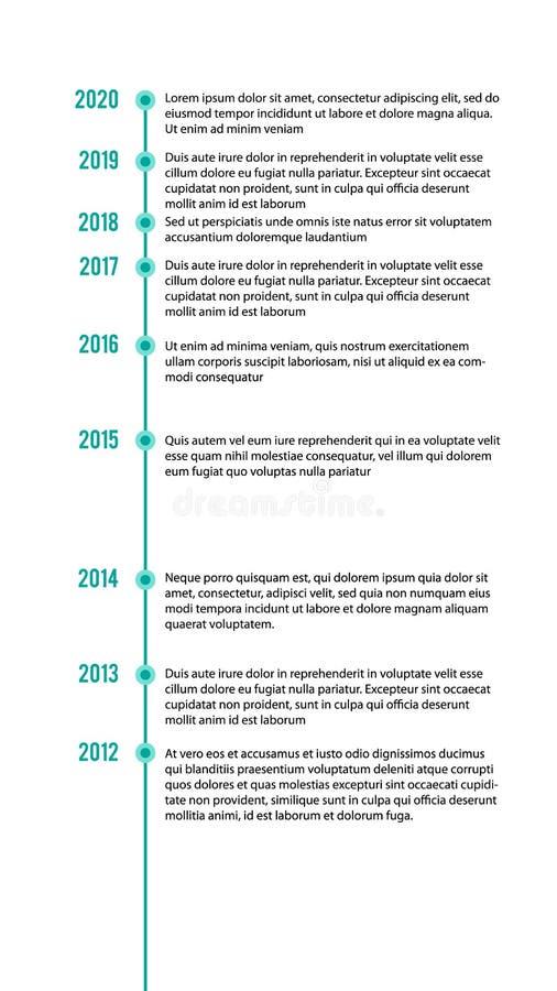 vertikale Zeitachse infographics Schablone, Arbeitsfluß, Prozessdiagramm, Vektorillustration lizenzfreie abbildung