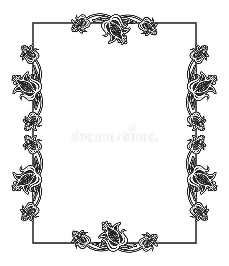 Vertikaler Abstrakter Schwarzweiss-Rahmen Mit Dekorativen Blumen ...