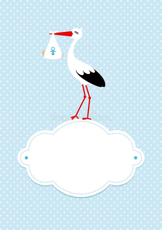 Vertikaler Baby-Karten-Jungen-Storch auf Wolke Dots Background Blue stock abbildung