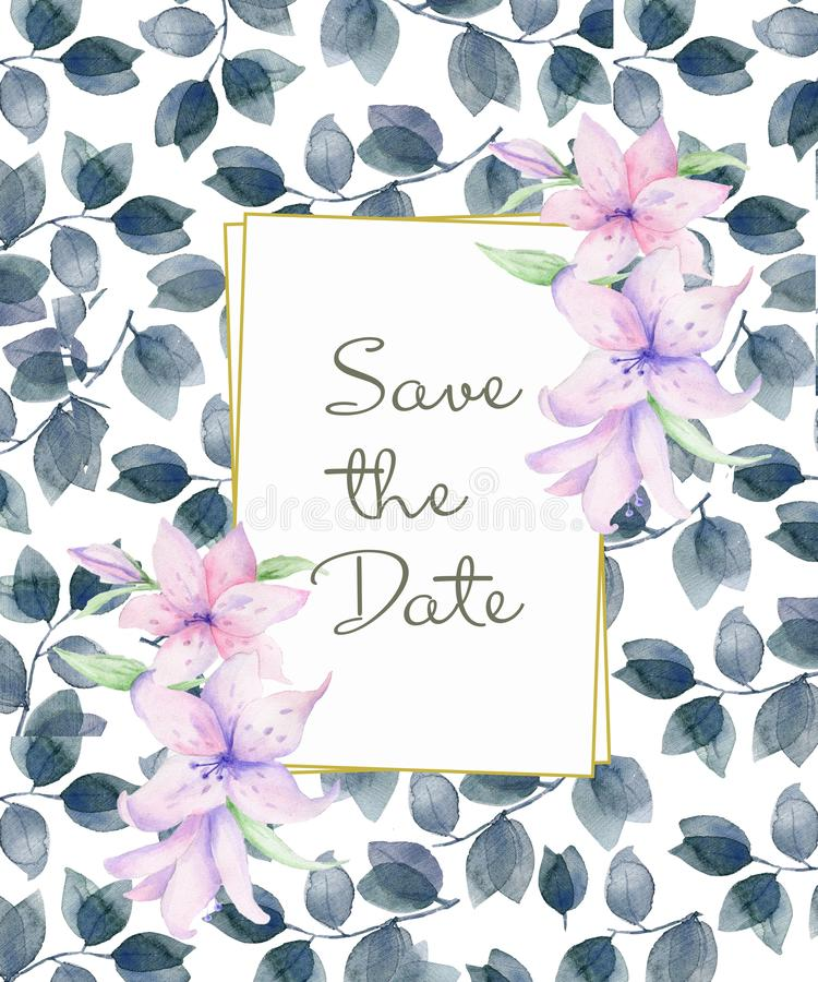 Vertikaler Blumenrahmen mit rosa Rosen und dekorativen Blättern Aquarell-Einladungsdesign Hintergrund, zum des Datums zu sparen lizenzfreie abbildung