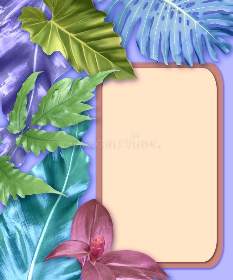 Vertikaler Einladungskartensatz mit tropischen Blättern stockfoto