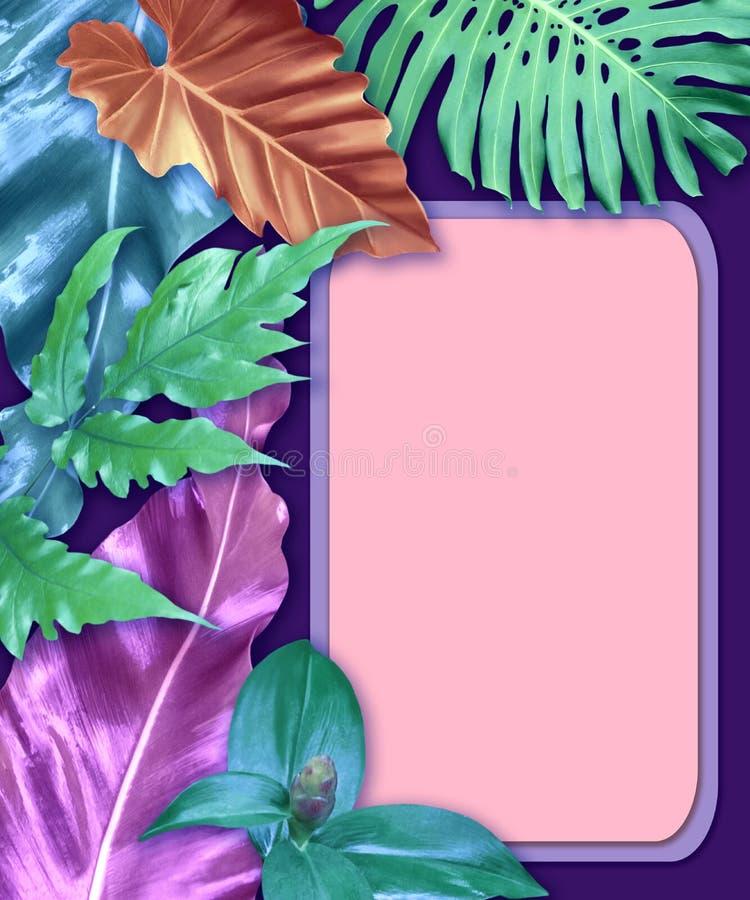 Vertikaler Einladungskartensatz mit tropischen Blättern lizenzfreie stockbilder
