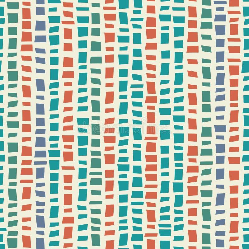 Vertikaler gestreifter Entwurf der blauen, grünen Mosaik Terrazzo-Art mit Akzentkorallenfarbe Nahtloses Vektormuster auf Creme lizenzfreie abbildung