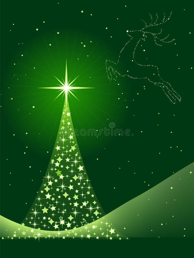Vertikaler gre Hintergrund mit Weihnachtsbaum und Re stock abbildung