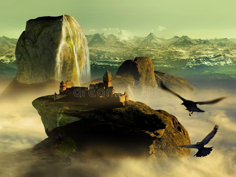 Vertikaler grunge Hintergrund mit magischem Buch lizenzfreie abbildung