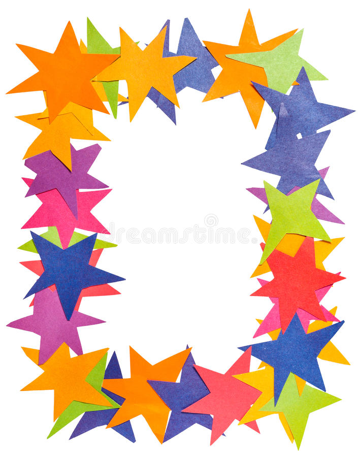 Vertikaler Rahmen von den Papiersternen stockbild