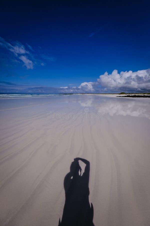 Vertikaler Schuss einer klaren Wasserküste und ein männlicher Schatten über Sand mit dunkelblauem Himmel lizenzfreie stockfotos
