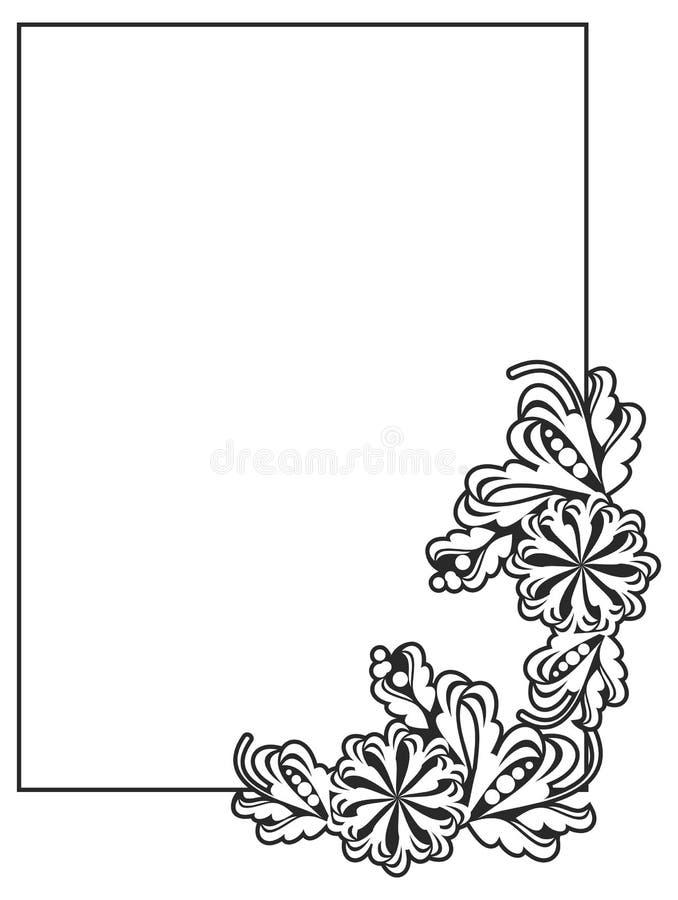 Vertikaler Schwarzweiss-Rahmen Mit Blumen Stock Abbildung ...