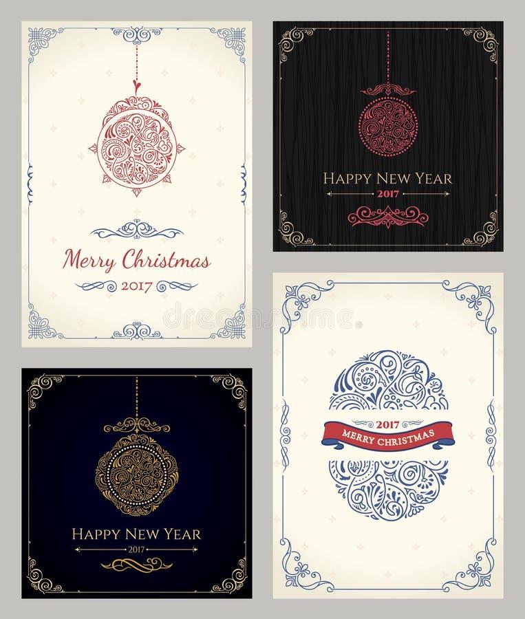 Vertikaler Weihnachtsfeiertags-Kartensatz Wintergrußverpackung für Geschenke lizenzfreie abbildung