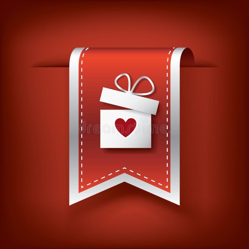 Vertikales Band des Valentinsgrußes oder Bookmarkelement für lizenzfreie abbildung