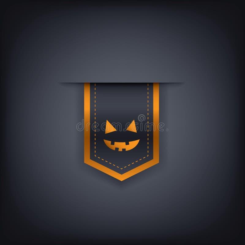 Vertikales Bandelement oder -Tag Halloweens mit Übel vektor abbildung