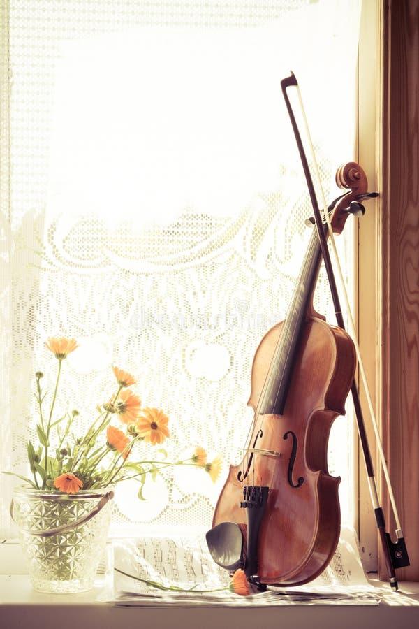 Vertikales Bild von Blumen und von Violine mit Noten die Front der Geige auf Fensterhintergrund lizenzfreie stockfotografie