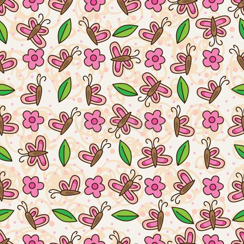 Vertikales horizontales nahtloses Muster des Schmetterlingsblumen-Blattes vektor abbildung