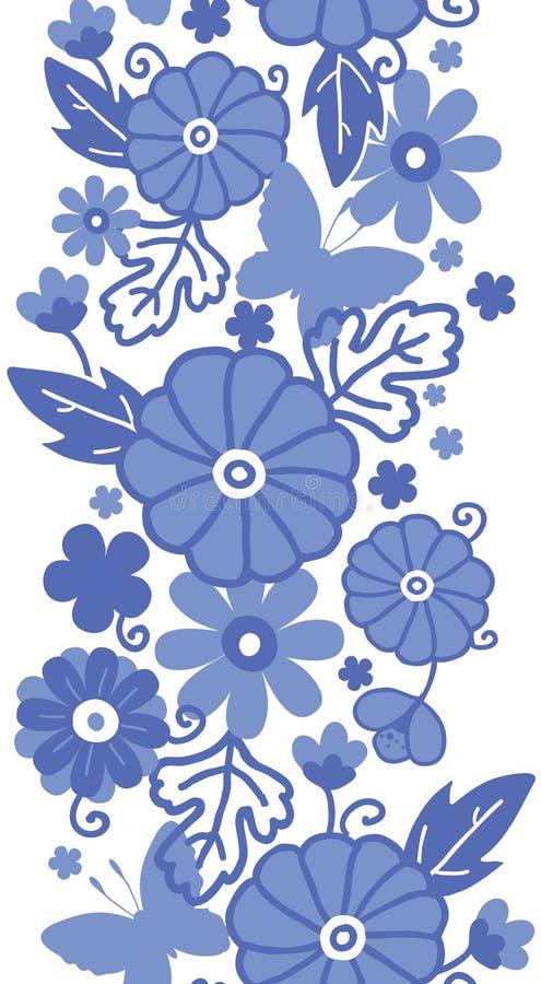 Vertikales nahtloses Muster der niederländischen Blumen des Delfter Blaus stock abbildung