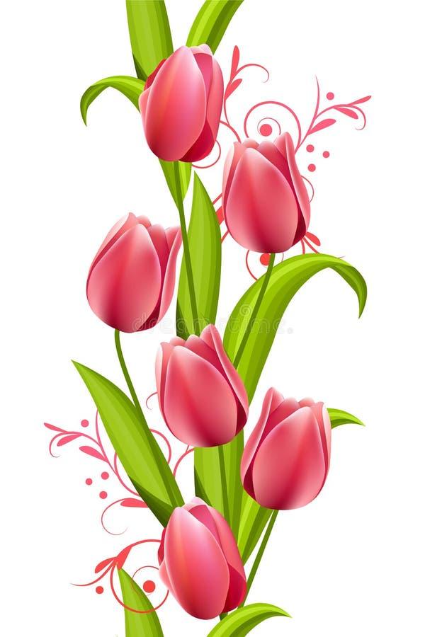 Vertikales nahtloses Muster mit Tulpen lizenzfreie abbildung