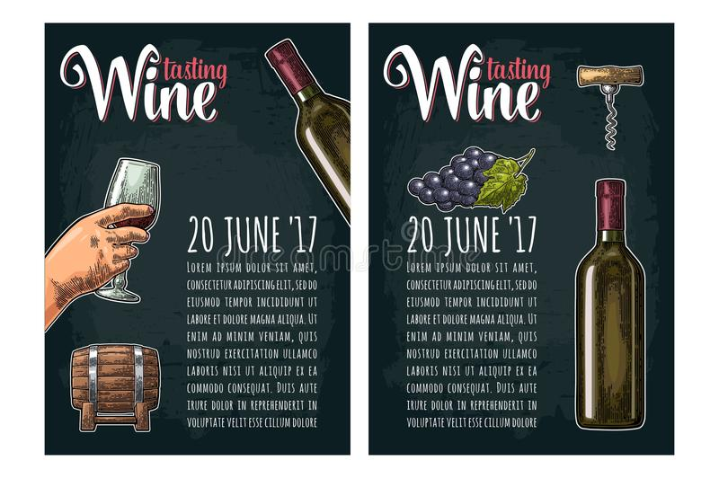 Vertikales Plakat Weinprobebeschriftung Flasche, Korkenzieher, Weintraube stock abbildung
