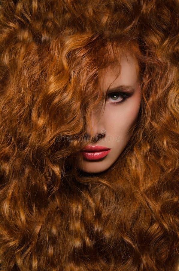 Vertikales Portrait der Frau mit dem roten Haar stockbild