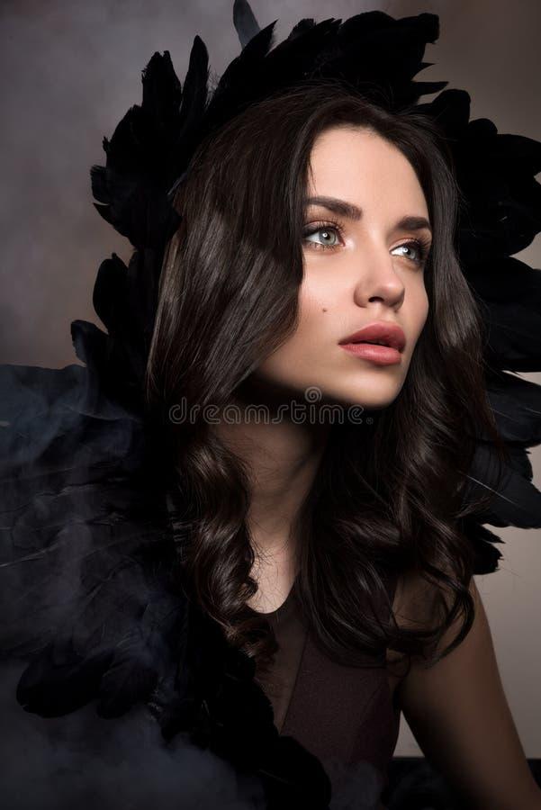 Vertikales Schönheitsporträt in den dunklen Tönen Schöne junge Frau in einer Rauchwolke mit schwarzen Federn in ihrem Haar stockfotos