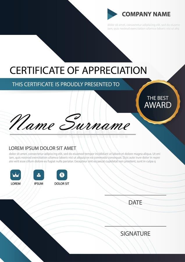 Vertikales Zertifikat blaues Schwarzes Eleganz mit Vektorillustration, weiße Rahmenzertifikatschablone mit sauberem und modernem  vektor abbildung