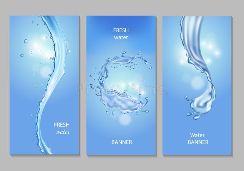 Vertikalt baner med flöden och droppar av kristallklart blått vatten Uppsättning för vektorfriskhetbegrepp stock illustrationer