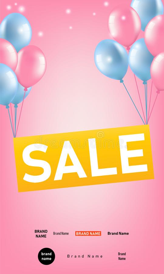 Vertikalt baner med rosa grupper och blåa ballonger som höjer det SALE tecknet Festlig bakgrund för annonsering och att marknadsf royaltyfri illustrationer