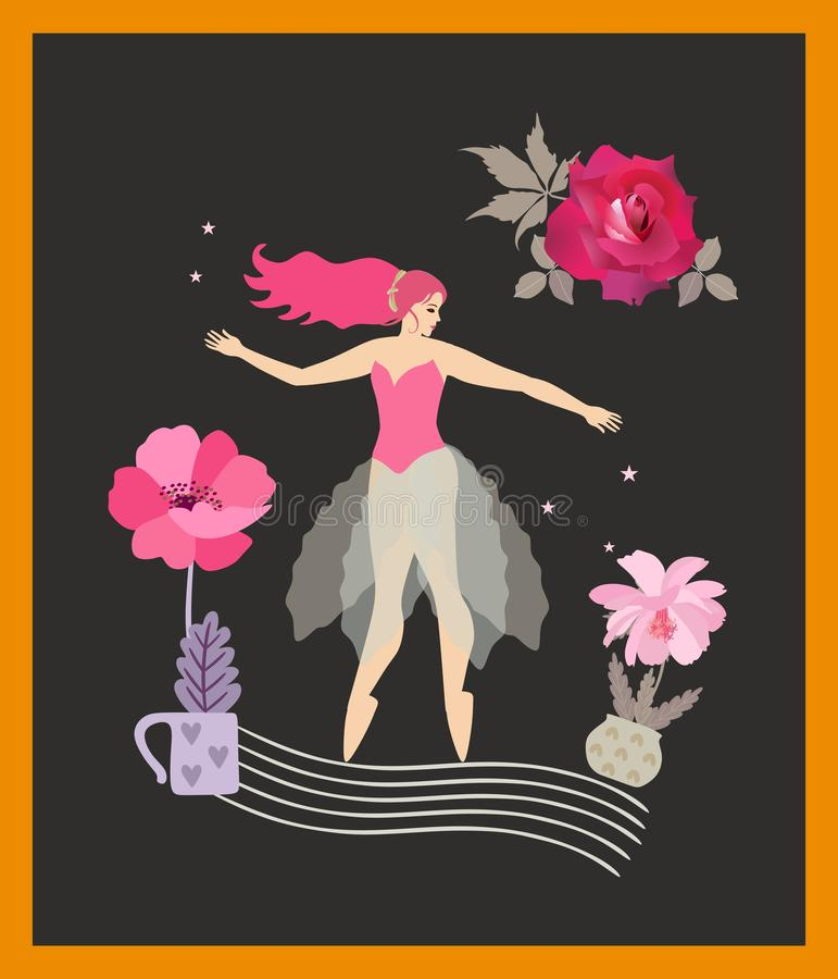 Vertikalt kort med ung flickadans på den stiliserade musikaliska personalen, blommor i blomkrukor, röd ros och stjärnor som isole vektor illustrationer