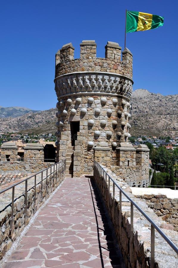 (Vertikalt) Manzanares el verkligt slott, arkivfoto