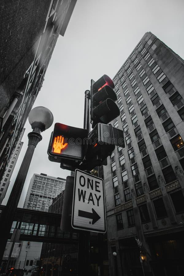 Vertikalt skott för låg vinkel av trafikljus och vägmärken med en grå byggnad i bakgrunden royaltyfri fotografi