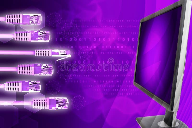 Vertoning met kabels en molecule royalty-vrije illustratie