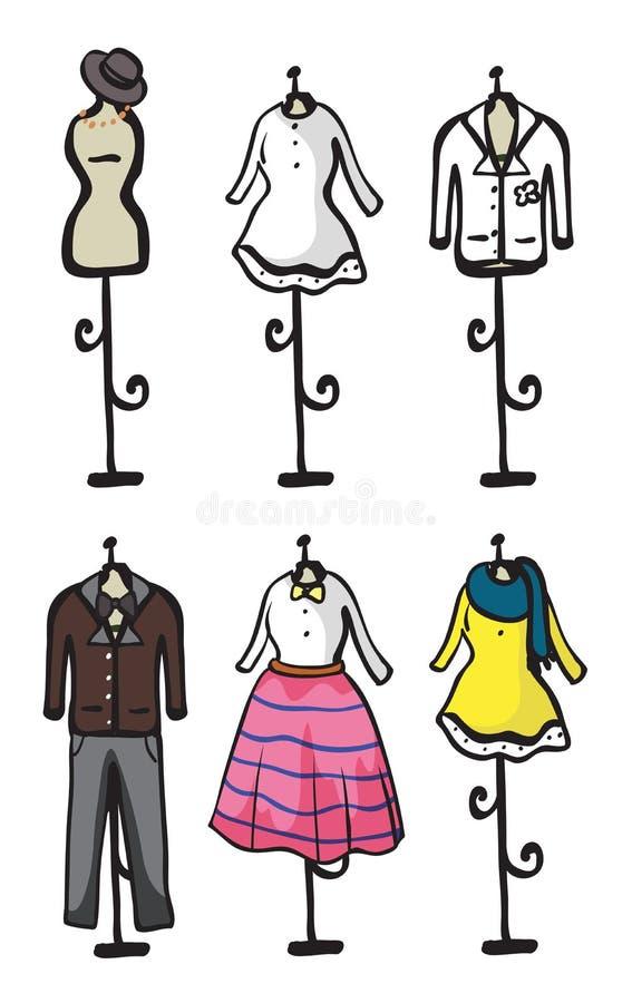 Vertoning van diverse kledingstukken stock illustratie