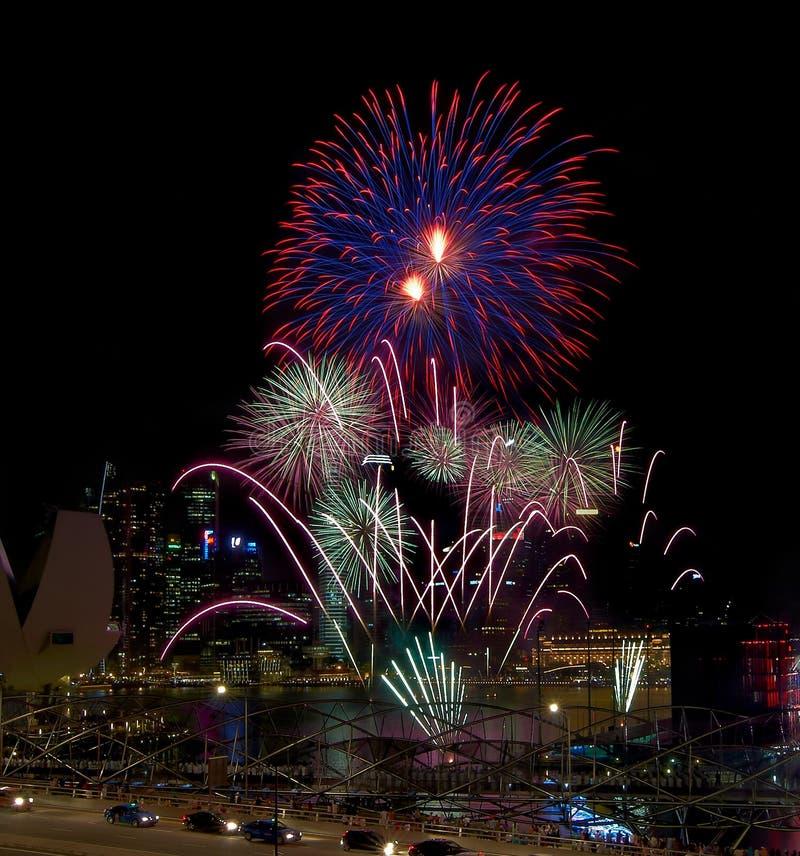 Vertoning van het Vuurwerk van de Dag van Singapore de Nationale stock afbeelding
