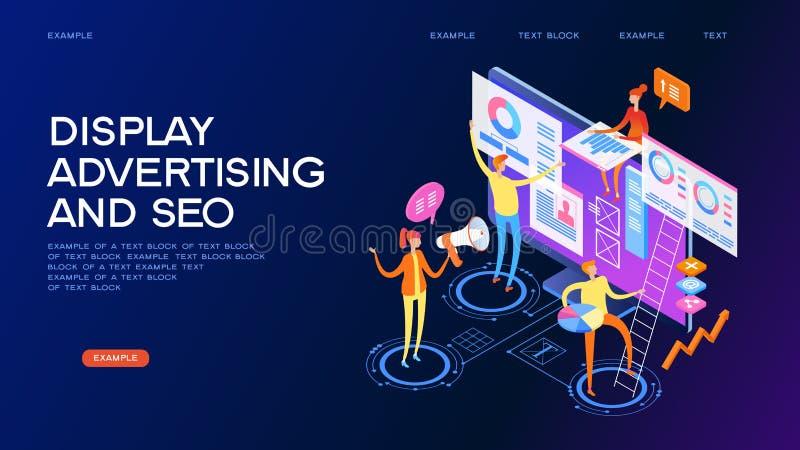 Vertonings reclame en seo conceptenbanner vector illustratie