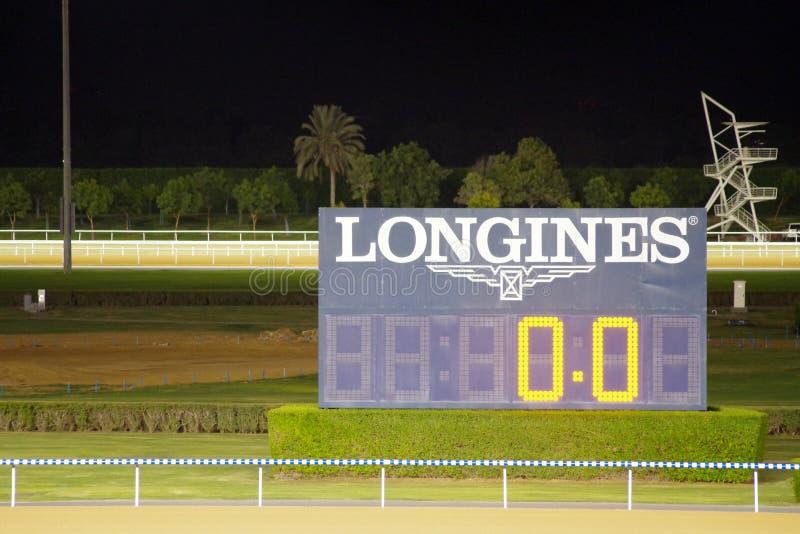 Vertoningspaneel door Longines wordt gesponsord die stock afbeeldingen
