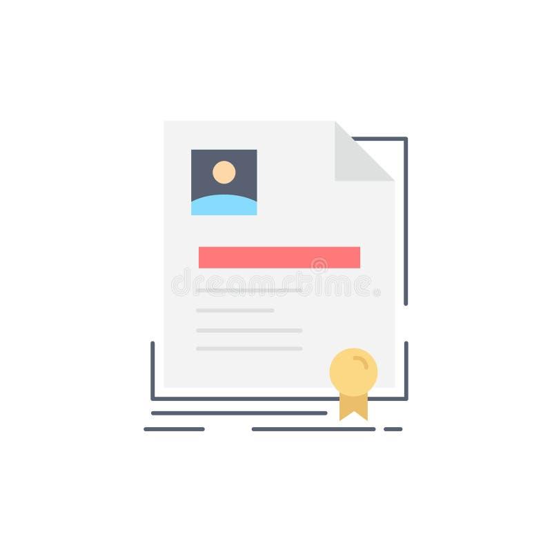 Vertrag, Ausweis, Geschäft, Vereinbarung, Zertifikat flacher Farbikonen-Vektor stock abbildung
