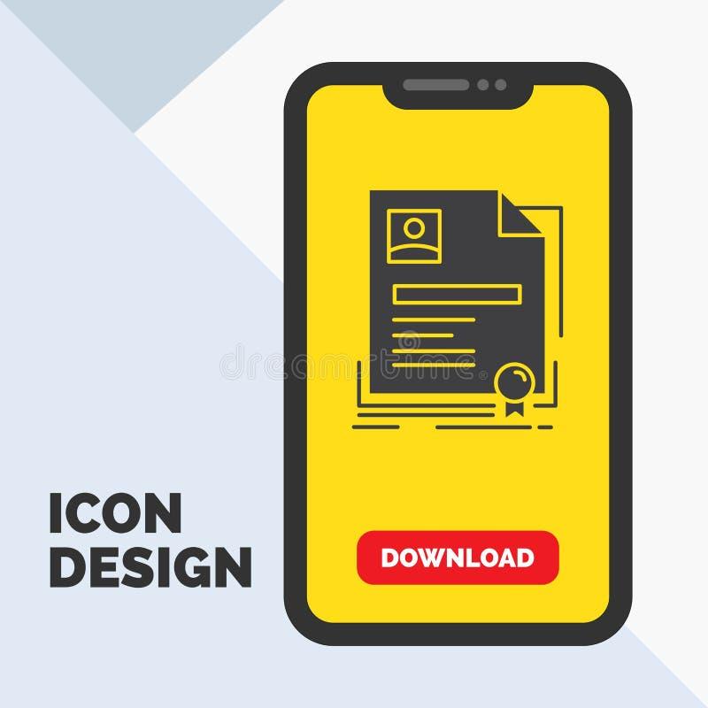 Vertrag, Ausweis, Geschäft, Vereinbarung, Zertifikat Glyph-Ikone im Mobile für Download-Seite Gelber Hintergrund stock abbildung