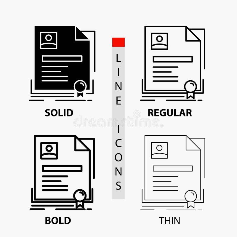 Vertrag, Ausweis, Geschäft, Vereinbarung, Zertifikat Ikone in der dünnen, regelmäßigen, mutigen Linie und in der Glyph-Art Auch i lizenzfreie abbildung