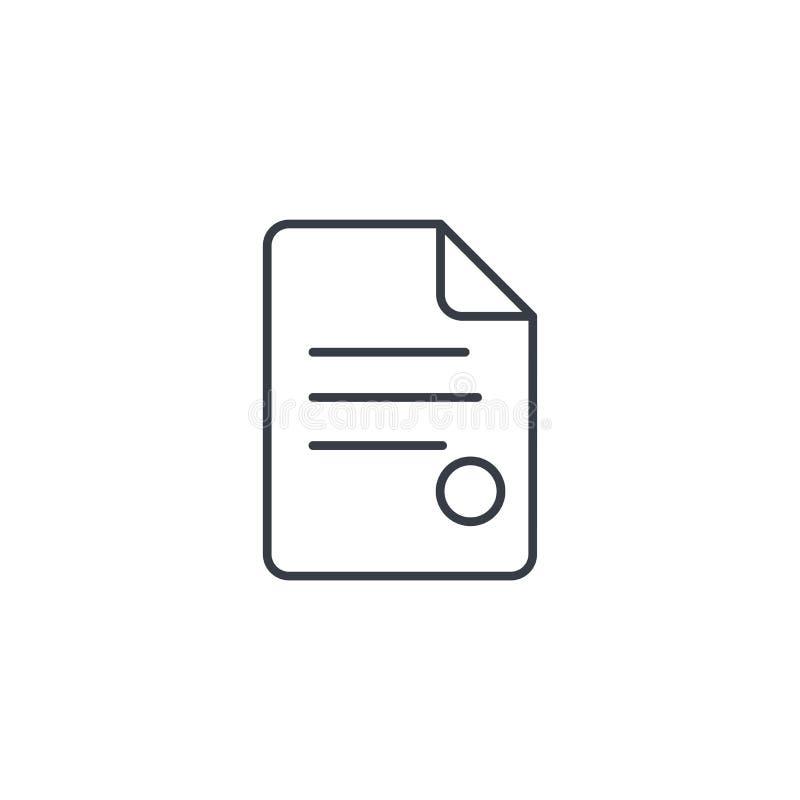 Vertrag, Dokument, dünne Linie Ikone Papierblatt whith Stempels Lineares Vektorsymbol lizenzfreie abbildung